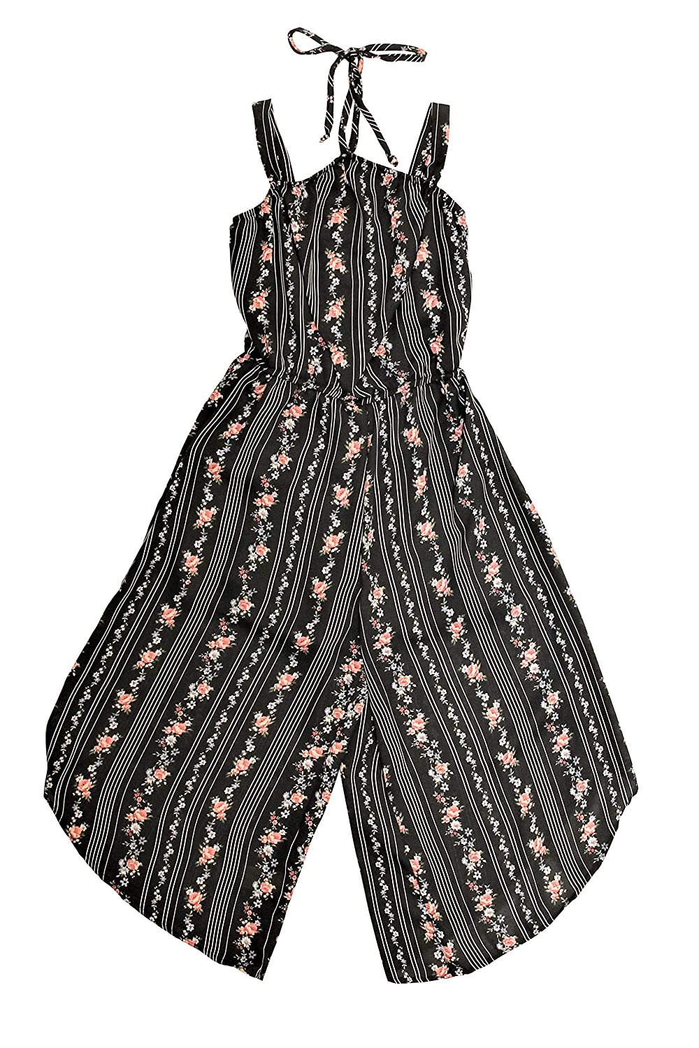 Ava and Yelly Big Girls Floral Stripe Jumpsuit
