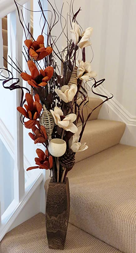 Cream Chocolate Exotic Floral Arrangement Of Organic Handmade Flowers And Indian Dried Grasses FREE Wooden
