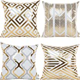 """HOSL 4 Pack ZTTJ03 Gold Stamping Geometrical Pattern Decorative Pillow Cover Case 18"""" X 18"""""""