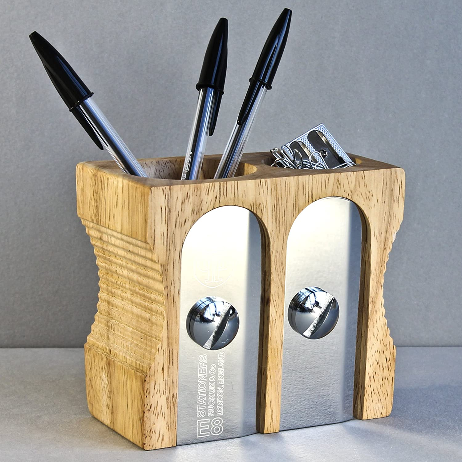 Amazon.com : SUCK UK Double Pencil Sharpener Desk Tidy - Natural : Pencil  Holders : Office Products