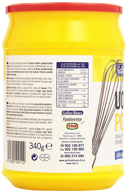 Gallina Blanca - Huevo en polvo - 340 grams: Amazon.es: Alimentación y bebidas