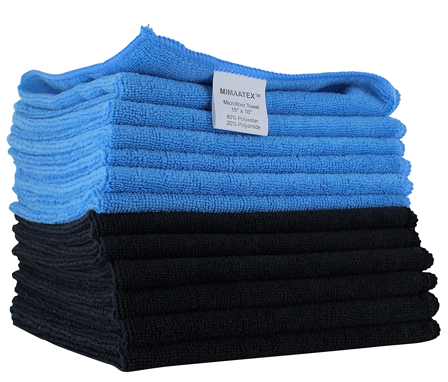 Microfiber Cleaning Cloth By MIMAATEX-12 Pack-16x16 inches-300 GSM-Lint Free-Streak Free MHF