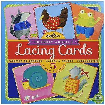 eeBoo - Lacing Cards Animales simpáticos, Juego de Cartas (LCFRI)