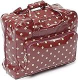 Hobby Gift PVC Sewing Machine Bag Polka, Cotton, Burgandy, 44x19x37 cm