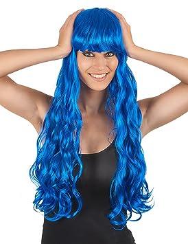 Peluca larga ondulada azul flequillo mujer - Única