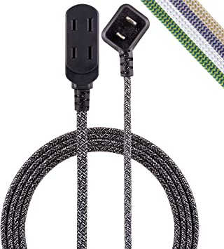 Cordinate, Black/Gray, Designer 3-Outlet Extension Cord, 15 Ft Braided Cable, 2-Prong Power Strip, Slide-to-Lock Safety, Low-Profile Flat Plug, Polarized, ETL Listed, 43438-T1, 15 Ft, 15 Ft