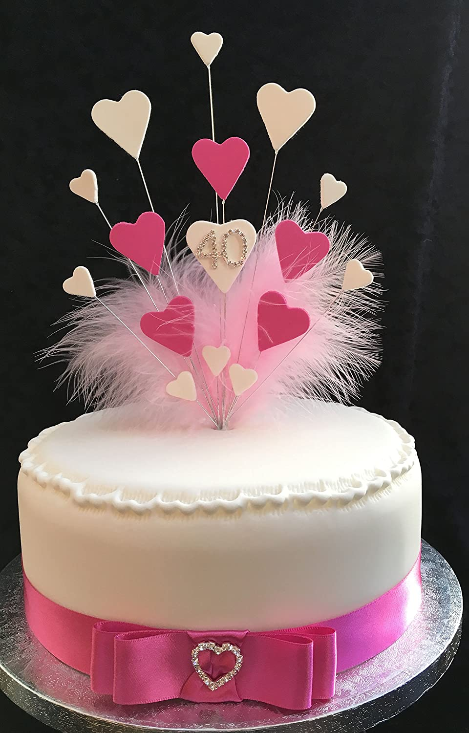 40th Birthday Wedding Anniversary Cake Topper Pink White Hearts Ideal For A 20cm PLUS 1 X Metre 25mm Hot Coloured Satin Ribbon With Attached Bow