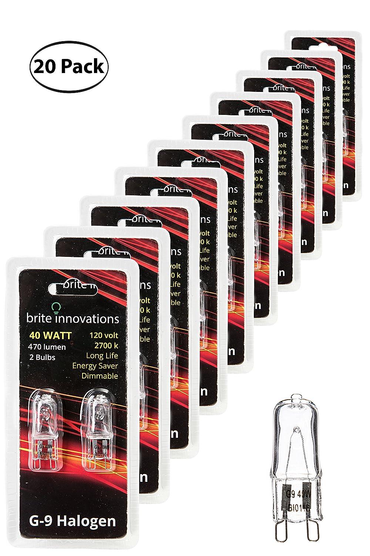 Q40 CL Dimmable Energy Saving Clear Light Bulb T4 JD Type 2 Pack 120V Soft White 2700K 40 Watt Brite Innovations G9 Halogen Bulb