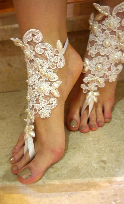 f1594259aa81 Amazon.com  ivory beach wedding barefoot sandal