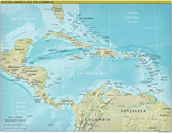 Central America Map - Physical - 22.5\