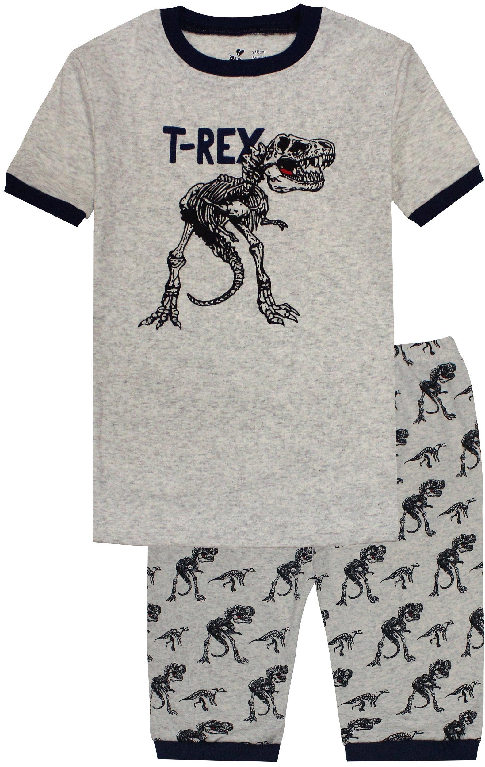 Boys T-Rex Pajamas Kids Sleep Shorts Set Cartoon Children Summer Clothes