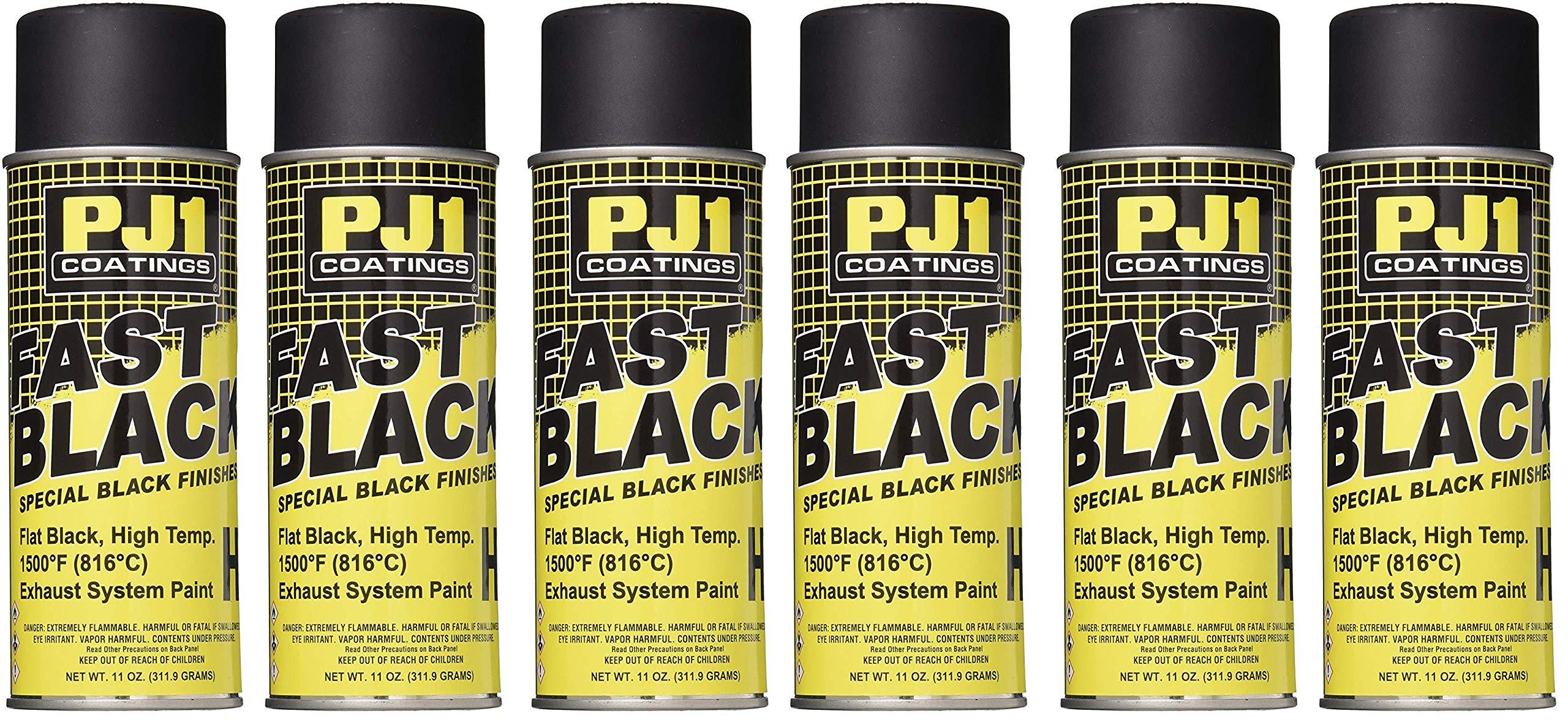 PJ1 16-HIT Flat Black Hi-Temp Spray Paint (Aerosol), 11 oz (6)