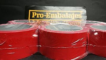 1 pack (6 rollos) cinta adhesiva en PVC 66 mts x 50 mm. en color rojo.(brillo): Amazon.es: Bricolaje y herramientas