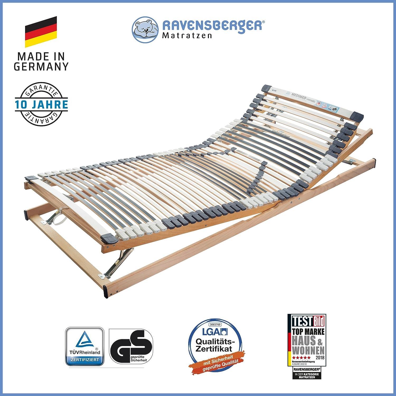 RAVENSBERGER MEDIMED® 44-Leisten 7-Zonen-BUCHE-Lattenrahmen   Verstellbar   MADE IN GERMANY - 10 JAHRE GARANTIE   TÜV GS + LGA QS - zertifiziert 120x200 cm