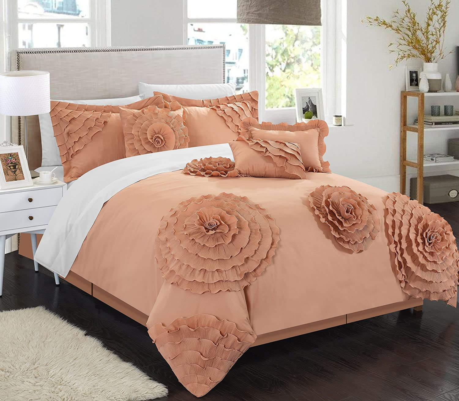 Chic Home 7 Piece Belinda Oversize Filled Floral and Rose Pleated Etched Applique Comforter Set, Queen, Peach