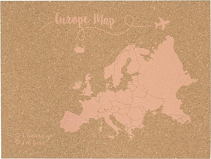 Decowood - Mapa de Corcho Europa, Grande, para Marcar Tus Viajes y Colgar en la Pared, Rosa Coral - 90x60cm: Amazon.es: Hogar