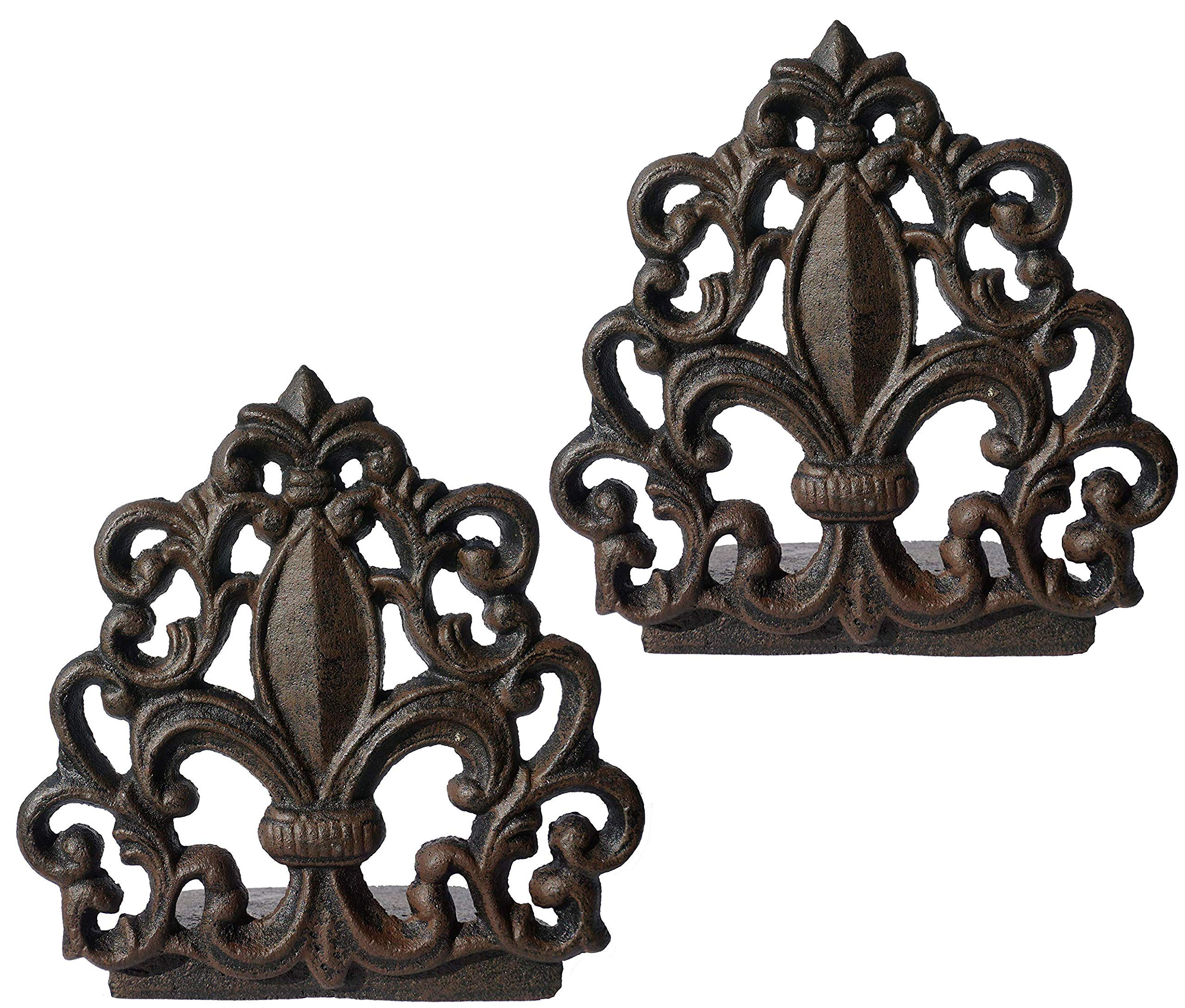 LuLu Decor, Cast Iron Fleur De Lis Door Stop, Door Stopper in Antique Black Finish, Beautiful and Useful Product, Simply Insert Flat Base Underneath Your Door Space, Works Great (2 Piece) by Lulu Decor