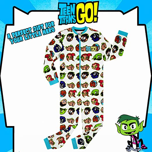 Teen Titans Go Merchandising Oficial Regalos Originales para Ni/ños Ni/ñas Adolescentes 4-14 A/ños Pijama Ni/ño de Una Pieza Pijamas Enteros de Superheroes