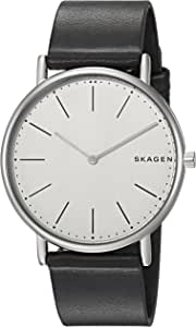 Skagen Men's Signatur Titanium Analog-Quartz Watch with Leather Calfskin Strap, Black, 20 (Model: SKW6419)