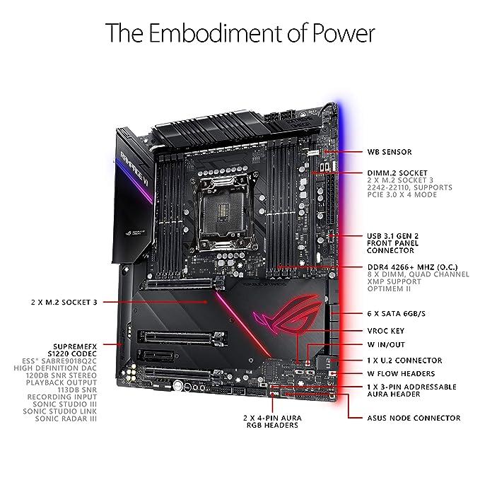 ASUS ROG Rampage VI Extreme Omega X299-II Gaming Motherboard LGA2066 (Intel  9th Gen X-Series) EATX DDR4 M 2 U 2 10G LAN USB 3 1 Gen2