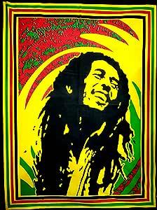 "ANJANIYA Bob Marley Beautiful Bohemian Room Dorm Decor Hippie Small Boho Rasta Tapestry Poster Size 40""x30"" Psychedelic Reggae Tapestries Wall Art Hanging Cotton Gypsy Posters (Bob Marley Laugh)"