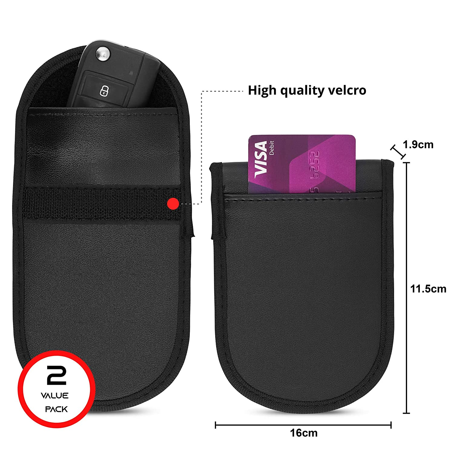 Water Resistance Faraday Bag Protector Anti-theft for Keyless Vehicle Fobs SCHILD 2x Premium RFID Car Signal Blocking Pouch Blocker for Car Keys