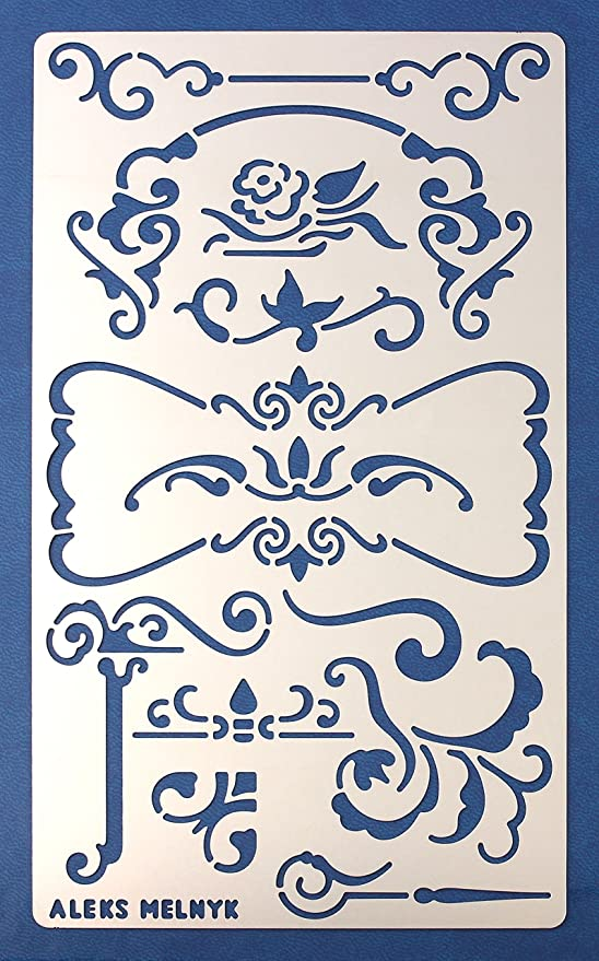 Ornament Furniture Crafts Vintage on Walls//Decorating Airbrush Finds Stencil Template for Painting on Wood Aleks Melnyk #5 Metal Stencil//Flowers and Vines