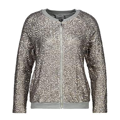 H4F Damen Bomberjacke Glitter Blouson Jacke mit Pailletten