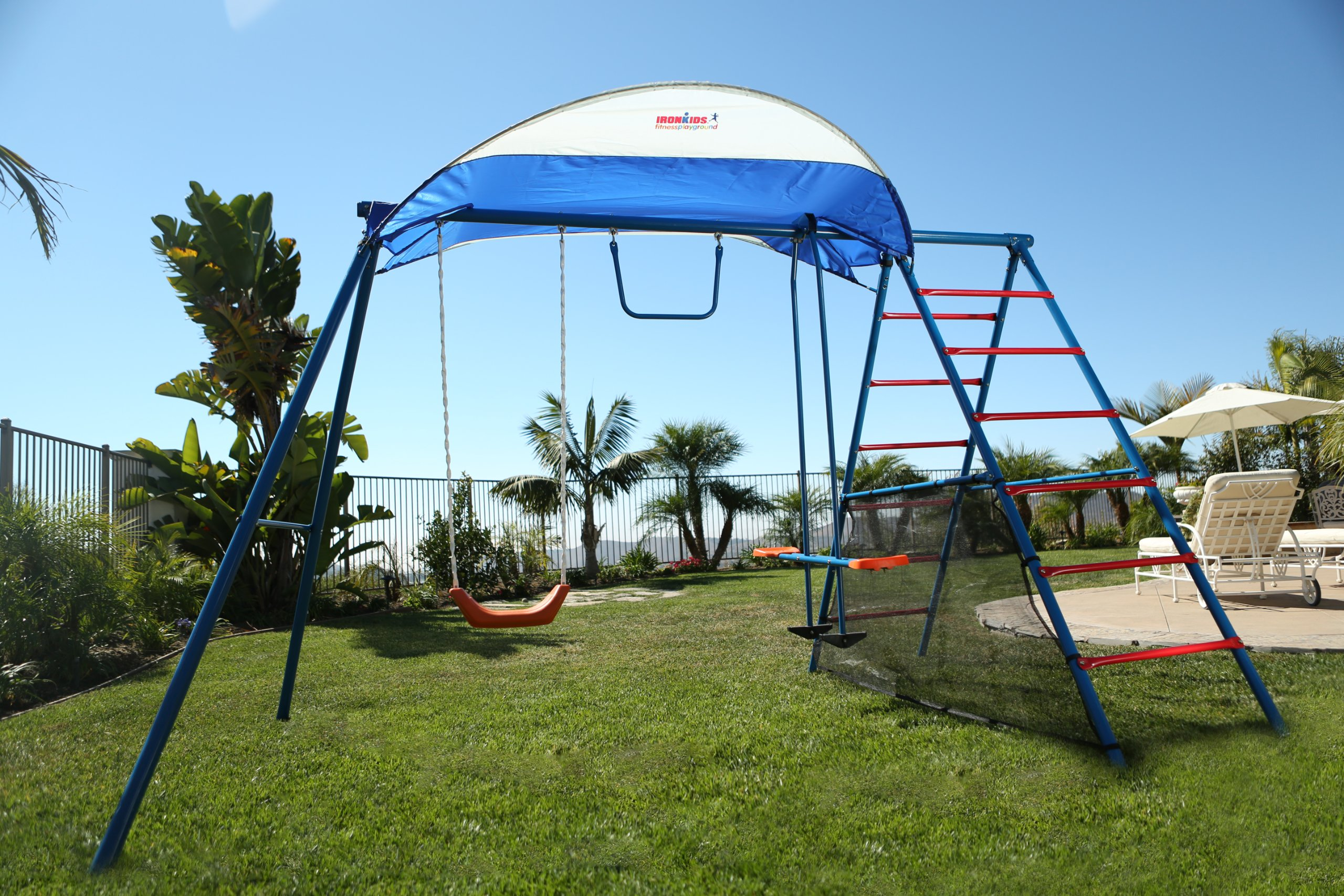 Ironkids Challenge 100 Metal Swing Set with Ladder Climber and UV Protective Sunshade by IRONKIDS (Image #2)