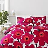 Marimekko 221455 Unikko Duvet Cover Set Red, Full/Queen