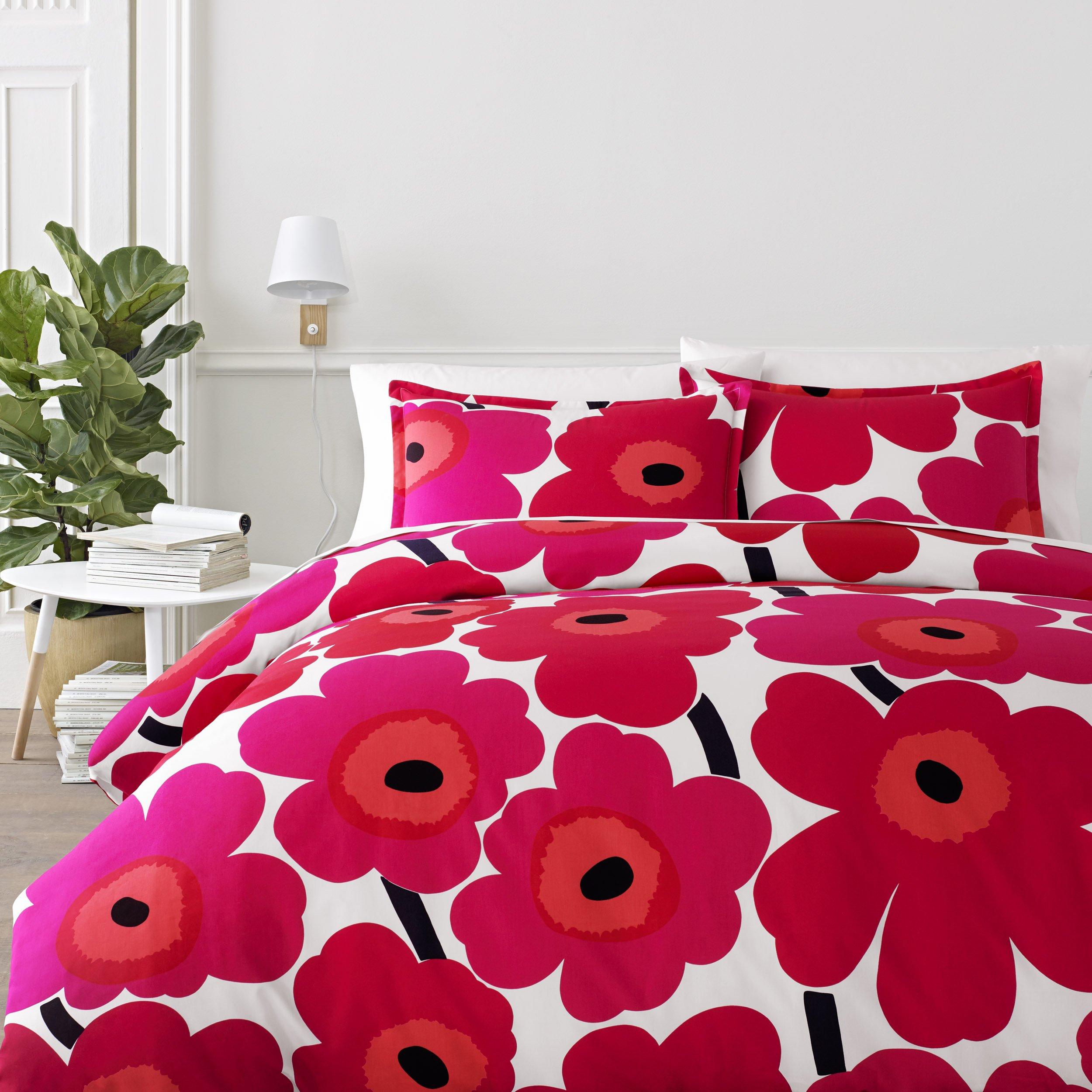 Marimekko 221452 Unikko Comforter Set Red, Full/Queen