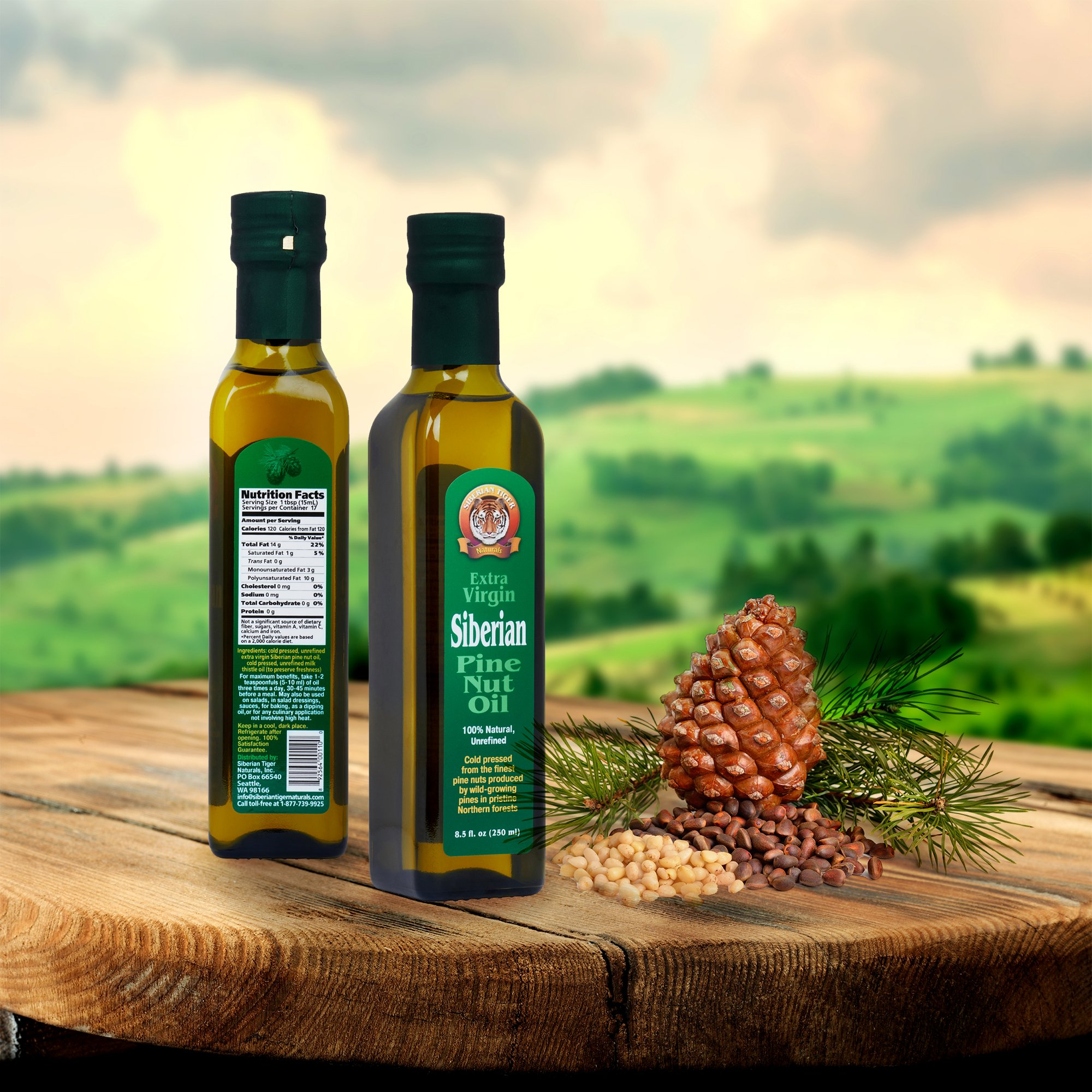 Extra Virgin Siberian Pine Nut Oil, 8.5 oz. Bottle - Premium Quality, Unrefined, 100% Natural - Benefits Overall Health & Aids Gastritis, Ulcers, Digestive Issues by Siberian Tiger Naturals (Image #3)