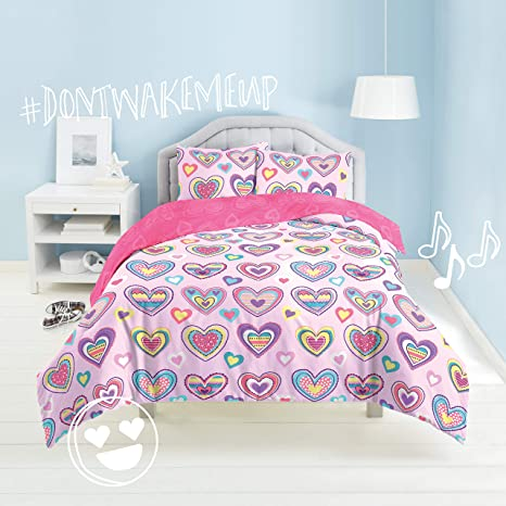 Dream Factory Kids 3 Piece Easy Wash Super Soft Cotton Comforter And Pillow Sham Set Full Queen Purple Hearts Home Kitchen