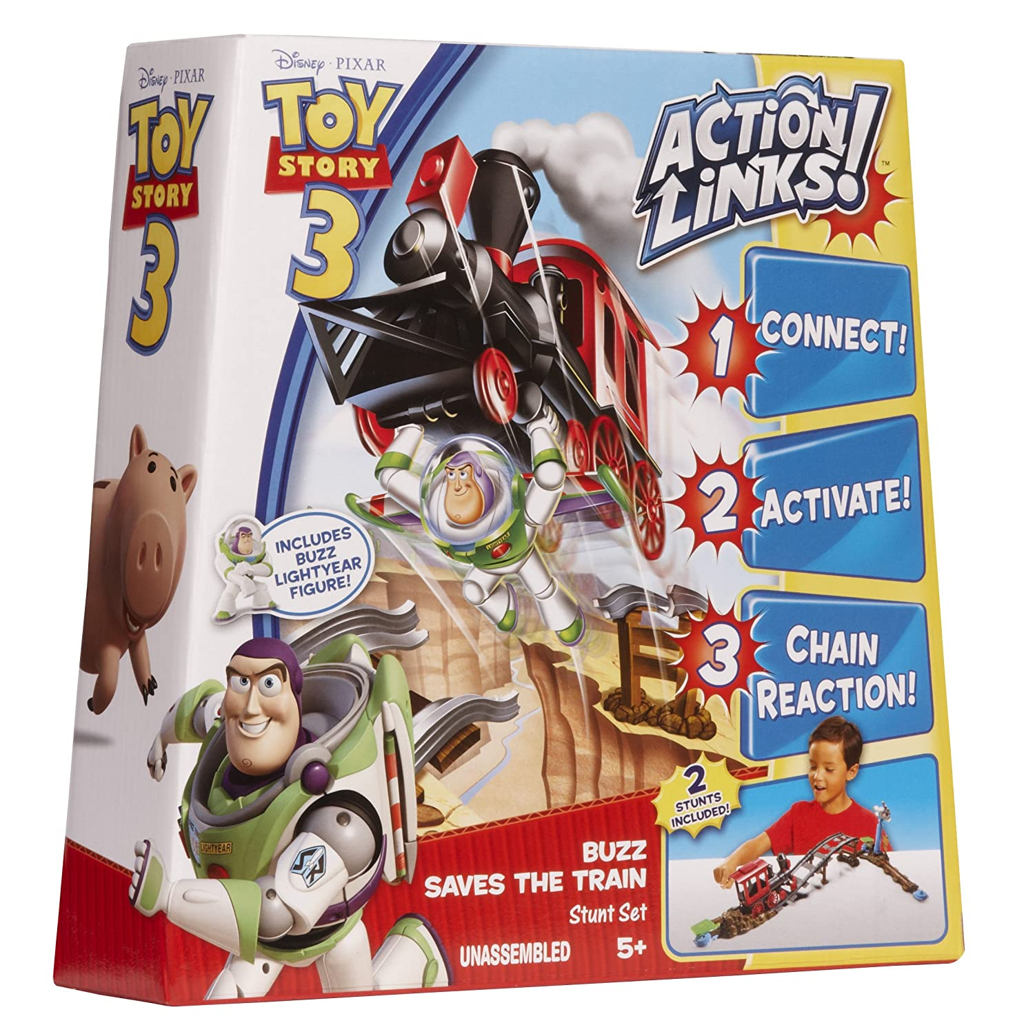 Toy story of terror 1 2 3 buzz lightyear of star command for sale - Amazon Com Toy Story 3 Action Links Buzz Saves The Train Stunt Set Toys Games