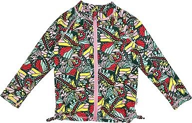 SwimZip Girls UPF 50 Long Sleeve Zip Rash Guard Swim Shirt Top
