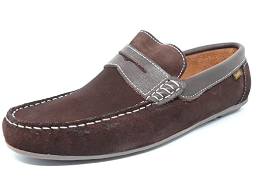 Zapato casual hombre tipo mocasin DELTELL en piel serraje color marron banda antifaz color marron -