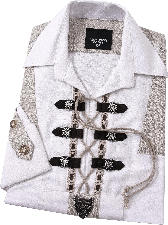 Moschen-Bayern Camisa de Manga Larga para Hombre, Pradera, para Traje Regional o Oktoberfest, Color Blanco Blanco XL: Amazon.es: Ropa y accesorios