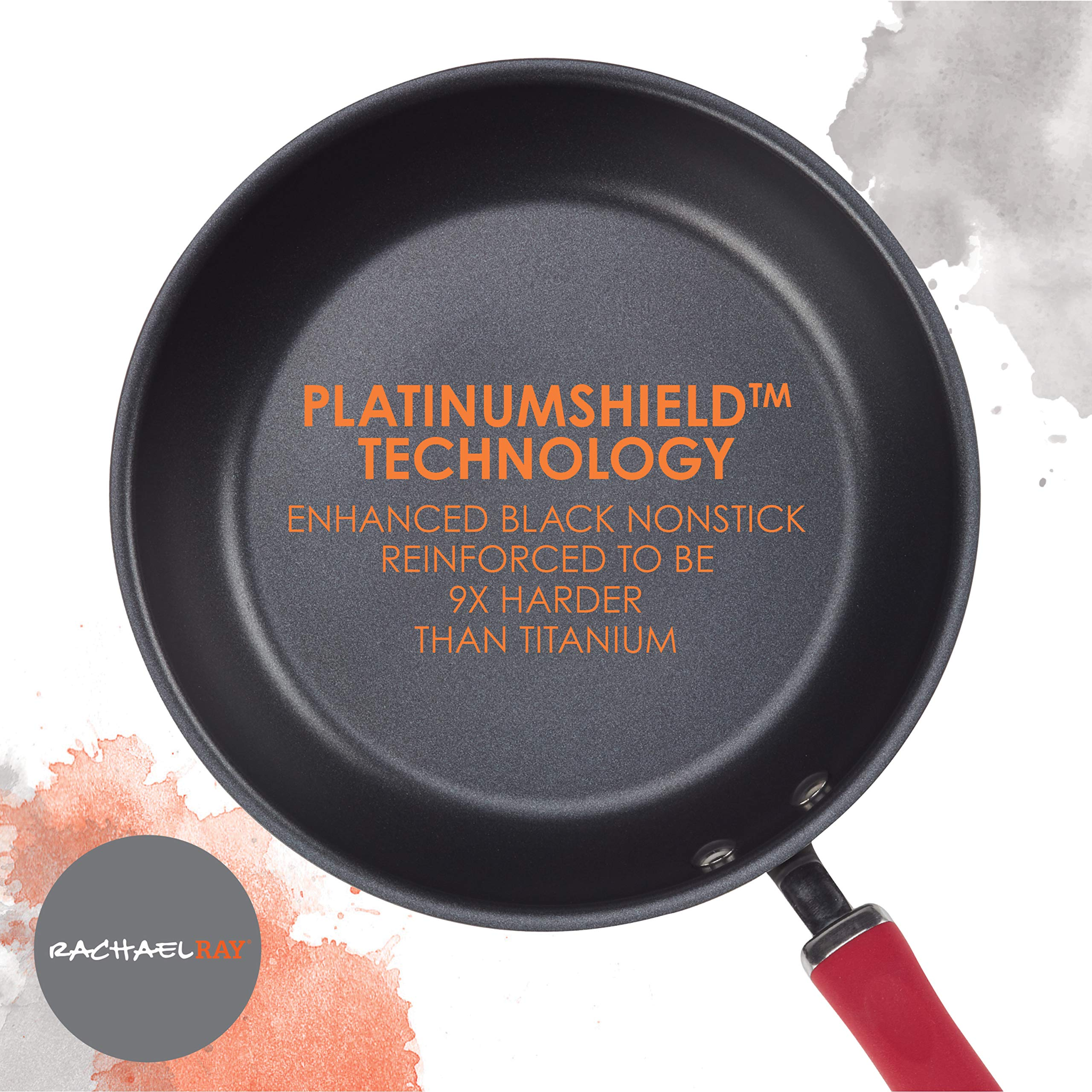 Rachael Ray Create Delicious Hard-Anodized Aluminum Nonstick Deep Skillet Twin Pack, 9.5-Inch and 11.75-Inch, Red Handles by Rachael Ray (Image #4)