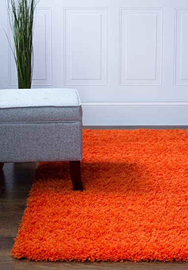 Super Area Rugs Contemporary Modern Plush Shag Solid Area Rug in Orange