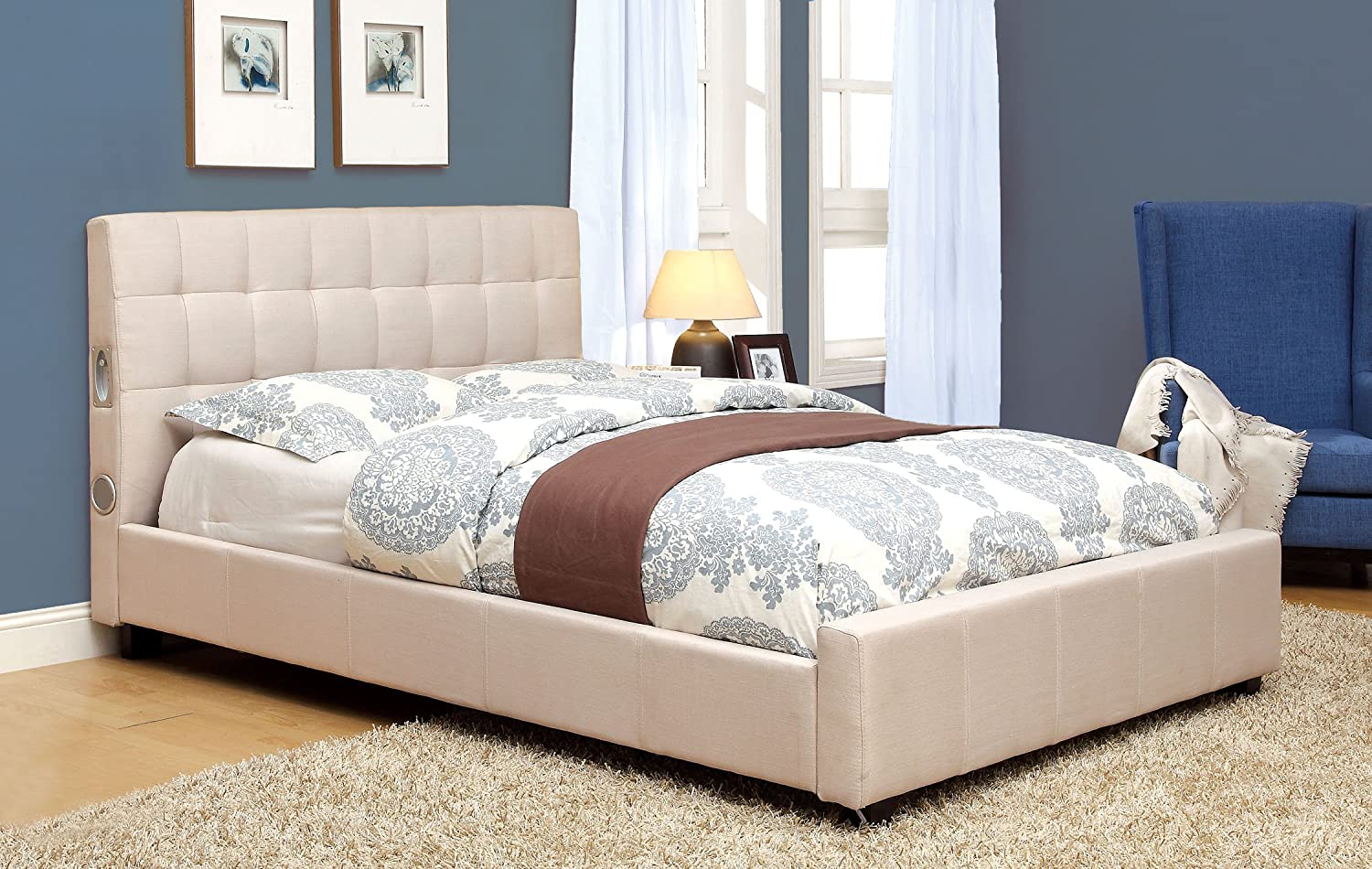 Amazon.com: Furniture Of America Reyes Fabric Platform Bed With Bluetooth  Speaker Headboard Design, Queen, Ivory: Kitchen U0026 Dining