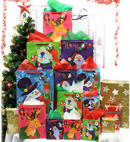 36 Christmas Bags Set with Wrapping Papers Tissue Paper Decoration Party Favors