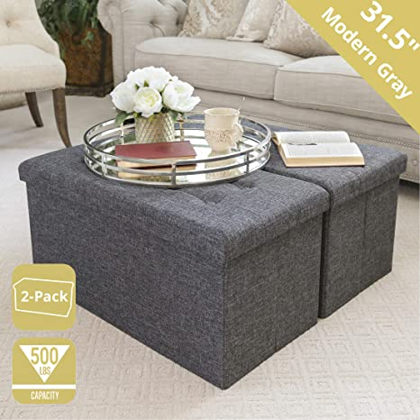 Seville Classics Foldable Storage Bench Footrest Coffee Table