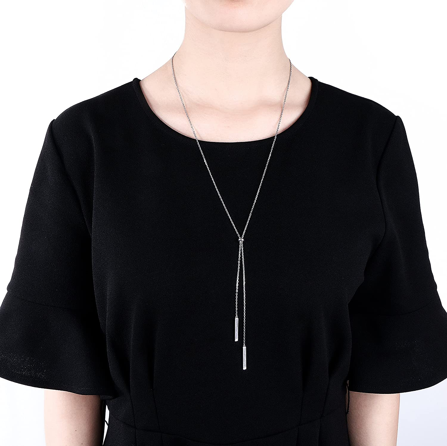 Sterling Silver Long Tassel Necklace Bar Y Lariat Long Chain Drop Adjustable Necklace Gift for Her 30 30 shaonan jewelry