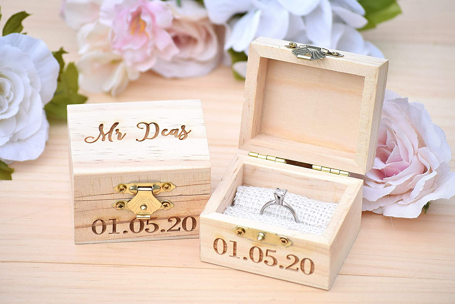 Personalized Mr and Mrs Ring Box Pillow Set Engraved Wedding Ring Box Wooden Ring Box Wedding Gift Ring Bearer Box Wooden Box Bridal Shower Gift