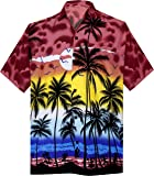 La Leela Hawaiian Shirt for Men Short Sleeve Front-Pocket Beach Palm Tree Pink