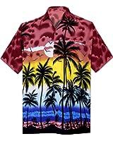 La Leela Men's Hibiscus Palm Tree Aloha Hawaiian Short Sleeves Button Down Hawaiian Shirt