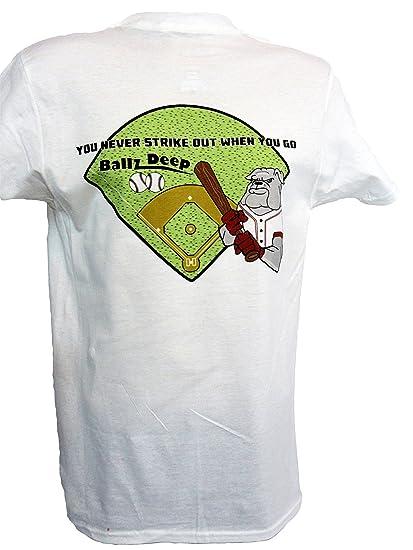 2f953ed979 Ballz Deep Men's Funny Baseball Pun Graphic T-Shirt at Amazon Men's ...