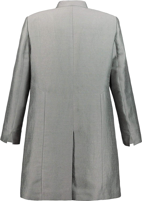 Ulla Popken Femme Grandes Tailles Blazer Long, Look Lin Chatoyant, Revers 726205 Gris (Gris Clair 72620516)