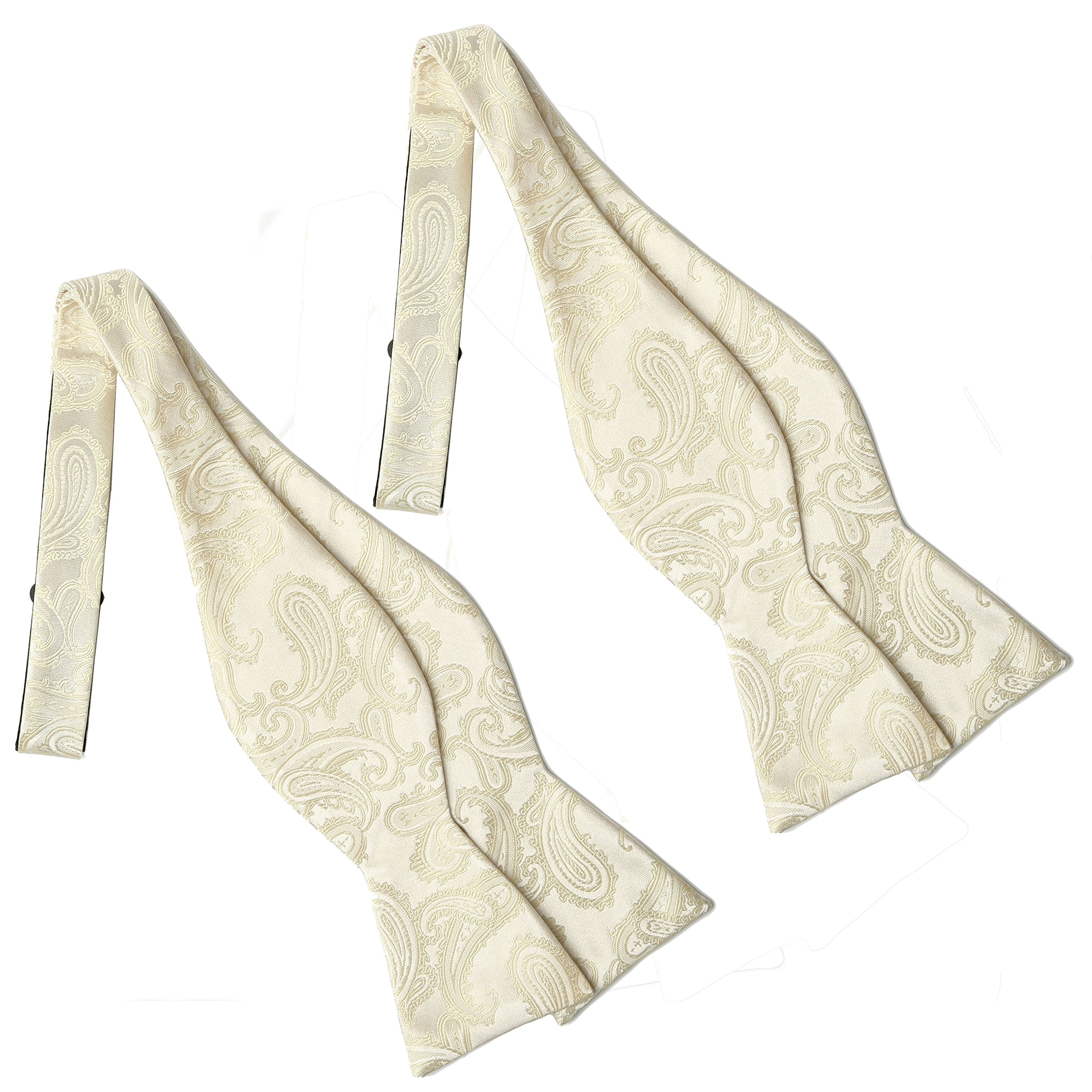 KissTies 2 PCS Bow Ties Cream Ivory Self Tie Paisley Bowties+ Gift Box
