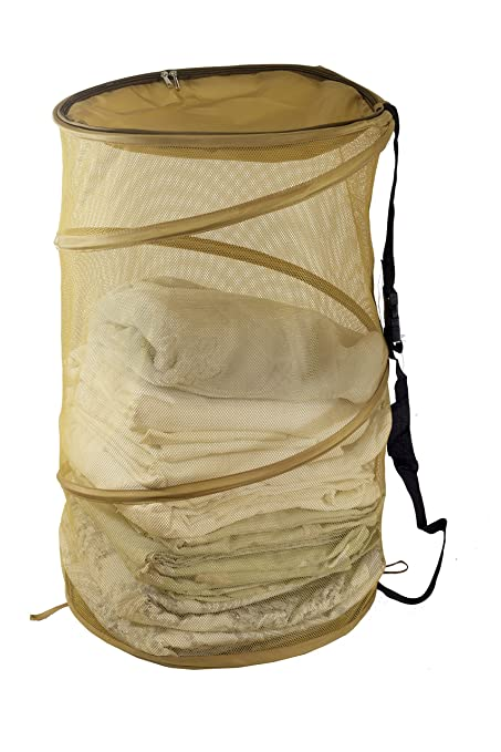 ec582cc410b7 Maypes Collapsible Wire Mesh Laundry Hamper – Portable, Durable Pop-Up  Laundry Basket & Storage Bag + Straps, Zippered Top Cover – Tall, ...